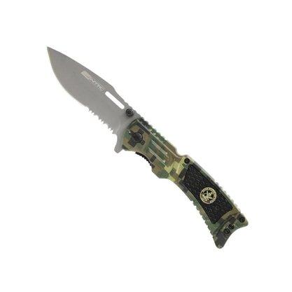 Canivete Semiautomático Camuflado Inox com Estojo Uzzit NTK